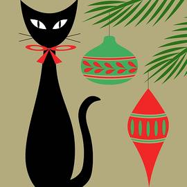 Mid Century Holiday Cat with Ornaments Beige by Donna Mibus