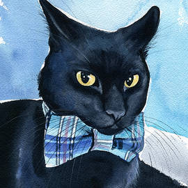 Mikey - Black Cat Painting by Dora Hathazi Mendes