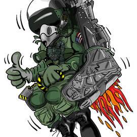 Military Fighter Jet Pilot Ejection Seat Cartoon Illustration by Jeff Hobrath