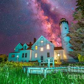 Milky Way Over Point Iroquois Lighthouse -4973 by Norris Seward