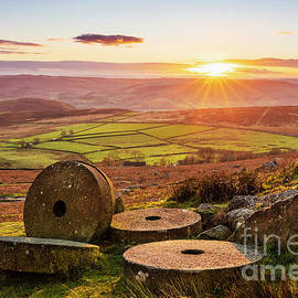 Millstones Autumn Sunset, Stanage Edge, Peak District National Park, Derbyshire, England by Neale And Judith Clark