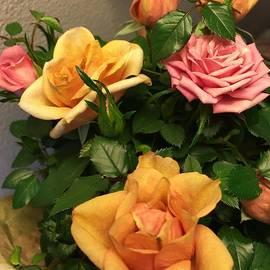 Miniature multi colored Roses by Inez Ellen Titchenal