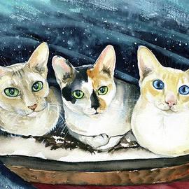 Minnie, Ellie and Rosie Cat Painting by Dora Hathazi Mendes