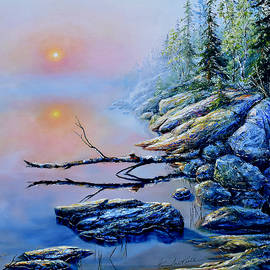 Misty Lakeshore Dawn by Hanne Lore Koehler