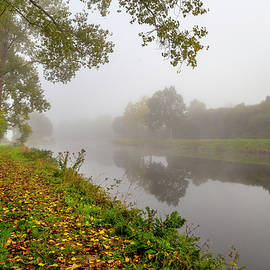 Misty Morning Along a French Canal by W Chris Fooshee