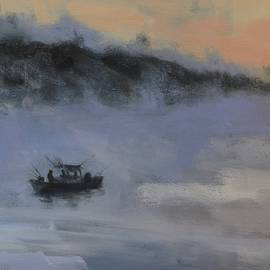 Misty Morning Fisherman at Smith Mountain Lake by Donna Tuten