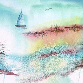 Misty Morning Sail Watercolor by Catherine Ludwig Donleycott