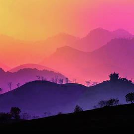 Misty Sunset in Moc Chau by Susan Maxwell Schmidt
