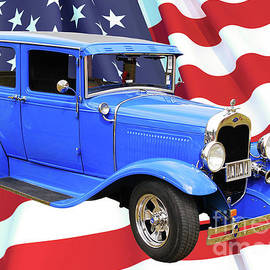 Model A Ford with American Flag.