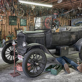 Model T Ford Under Repair by Betty Denise