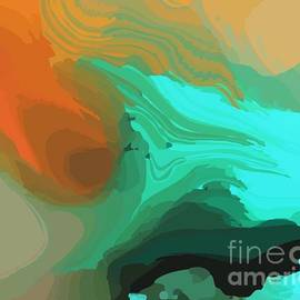 Modern Abstract Turquoise Orange by Sarah Niebank