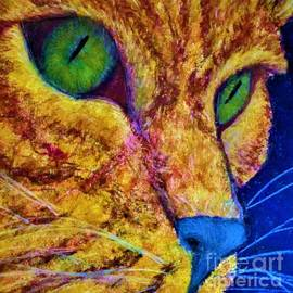 Modern Contemporary Tabby Cat Photo-Realistic Vibrant Vivid Colors Fun Kitty by Cara Schingeck