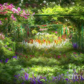 Monet's Lush Trellis Garden in Giverny, France, Painterly by Liesl Walsh