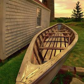 Monhegan Island Lighthouse and Rowboat by Joann Vitali
