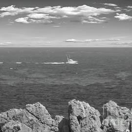 Monochrome Boat going out to sea, Sa Pinta des Pon, Spain by Tony Hulme