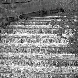 Monochrome waterfall from Chadderton Hall Park by Tony Hulme