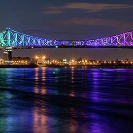 Montreal Jacques Cartier Bridge Illuminated by Marlin and Laura Hum