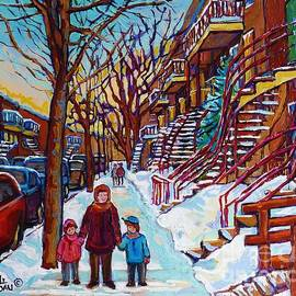Montreal Paintings Staircase Scenes For Sale Winter Stroll Verdun To Plateau Mont Royal Winter Scene by Carole Spandau