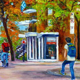 Montreal Summer Scene Cycling And Skateboarding Along City Street Canadian Painting Grace Venditti by Grace Venditti