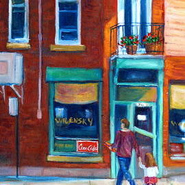 Montreal Summer Scene Painting Walking Home From Library Near Wilensky Diner Grace Venditti Art by Grace Venditti