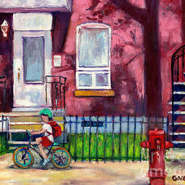 Montreal Summer Scene With Long Shadows Painting Little Girl On Bicycle Canadian Art Grace Venditti by Grace Venditti