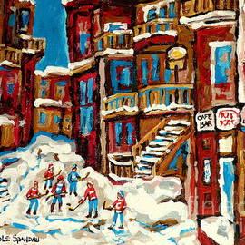 Montreal Verdun Balconville Street Hockey Painting Carole Spandau Canadian Artist Quebec Art Scenes by Carole Spandau