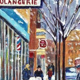 Montreal Winter Scene Rue St Viateur With Bagel Shop Grace Venditti Art by Grace Venditti