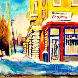 Montreal Winter Scene Verdun Depanneur Proprio Corner Store  by Grace Venditti