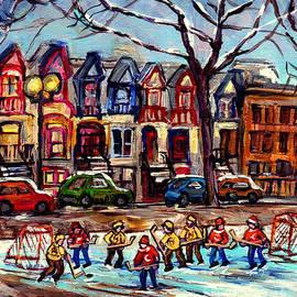 Montreal Winterscenes Hockey Game At St Louis Square Park Canadian Art C Spandau Canadian Art Quebec by Carole Spandau