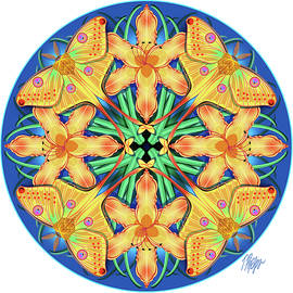 Moon Moth Day Lily Nature Mandala by Tim Phelps