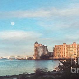 Moon Over Sarasota Bay, Florida, Painterly by Liesl Walsh