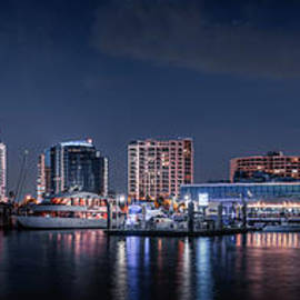 Moon Over Sarasota, Florida Skyline by Liesl Walsh