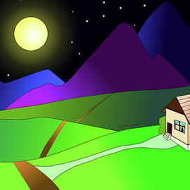 Moon Rising Over House by Teresamarie Yawn