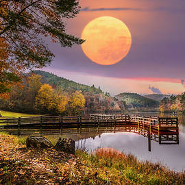 Moon Rising over the Lake by Debra and Dave Vanderlaan
