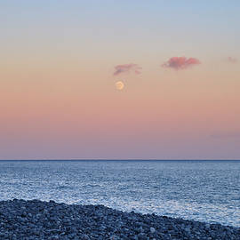 Moon sunrise at sunset. Santiago beach. La Gomera Island. Canary Islands at sunset by Guido Montanes Castillo