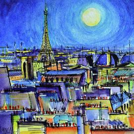 MOONLIGHT OVER PARIS watercolor painting Mona Edulesco by Mona Edulesco