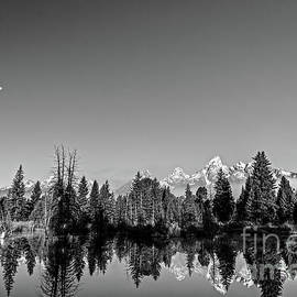 Moonrise over the Tetons in Black and White by Paul Quinn