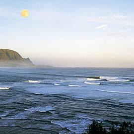Moonset over Hanalei Bay, Hawaii by Buddy Mays