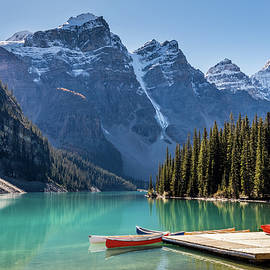 Moraine Lake Colorful Canoes by Pierre Leclerc Photography