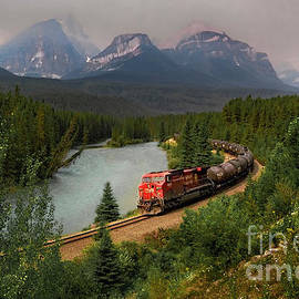 Morant's Curve Train at Sunset by Norma Brandsberg