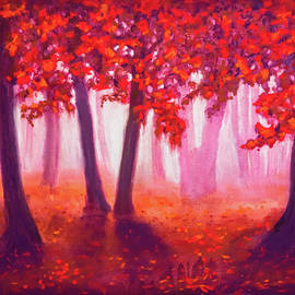 Morning fog in the autumn woods by Lilia Dalamangas