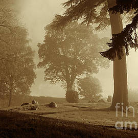 Morning mist clearing, Stirling, sepia by Paul Boizot