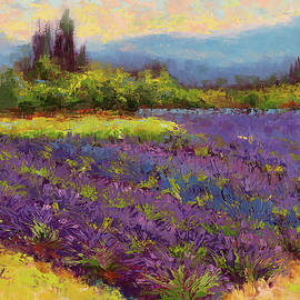 Morning Prelude - lavender landscape painting  by Talya Johnson