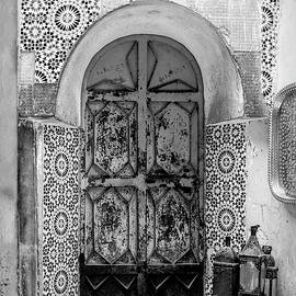 Morocco - Fes Door - Black and White by Lindley Johnson