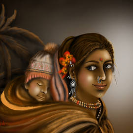 Mother and child Indian art by Anjali Swami