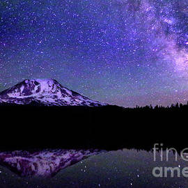 Mount Adams And Milky Way by Douglas Taylor