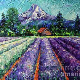 MOUNT HOOD LAVENDER FIELDS OREGON palette knife oil painting Mona Edulesco by Mona Edulesco