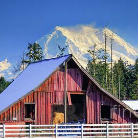 Mount Rainier and Barn by Inge Johnsson
