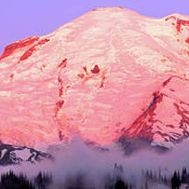 Mount Rainier In Alpenglow Panoramic by Douglas Taylor