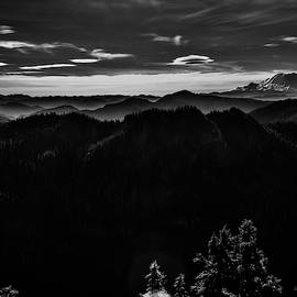 Mount Rainier with Rolling Hills Black and White